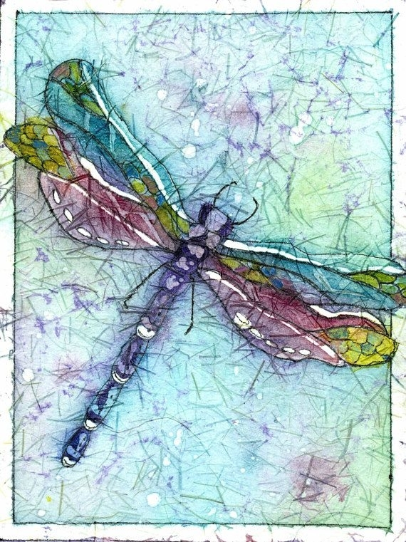 Batik Art,dragonfly Art,dragonfly Prints,a Dragonfly Painting In Dragonfly Painting Wall Art (View 7 of 25)