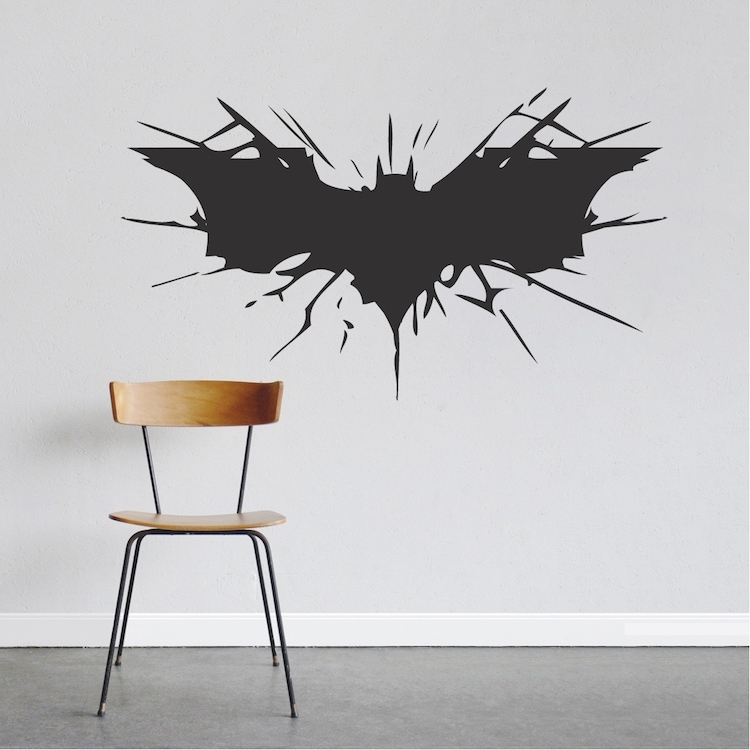 Batman Wall Decal Boys Bedroom Removable Animal Wall Stickers Black Intended For Batman Wall Art (Image 13 of 20)