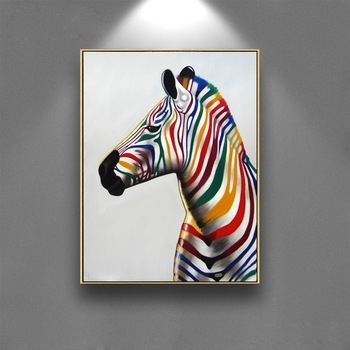 Beautiful Colourful Zebra For Wall Art Frame Art Replica Painting On Throughout Zebra Canvas Wall Art (View 17 of 25)