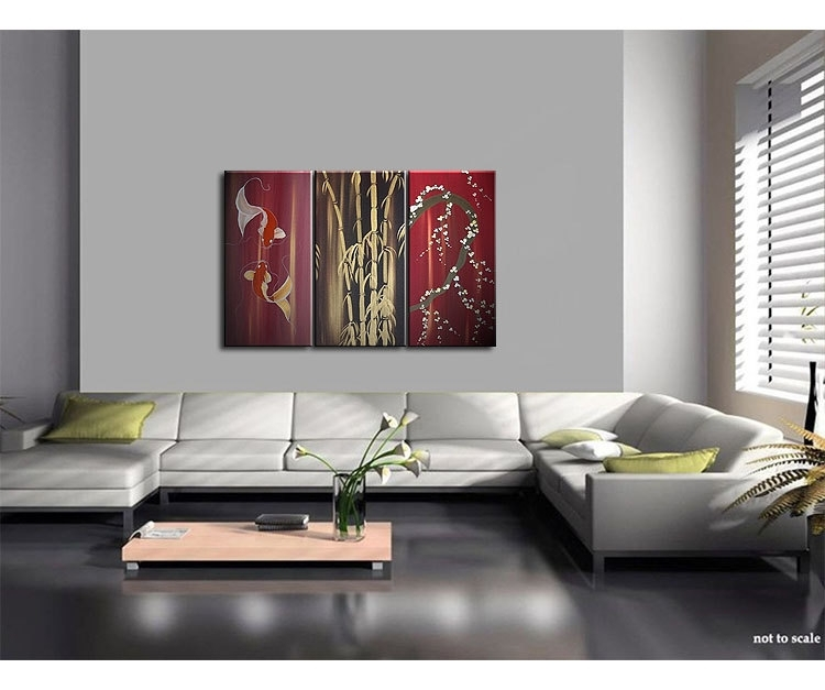 Beautiful Koi Fish Painting In Wine Reds Triptych Wall Art Bamboo Throughout Triptych Wall Art (Image 2 of 25)