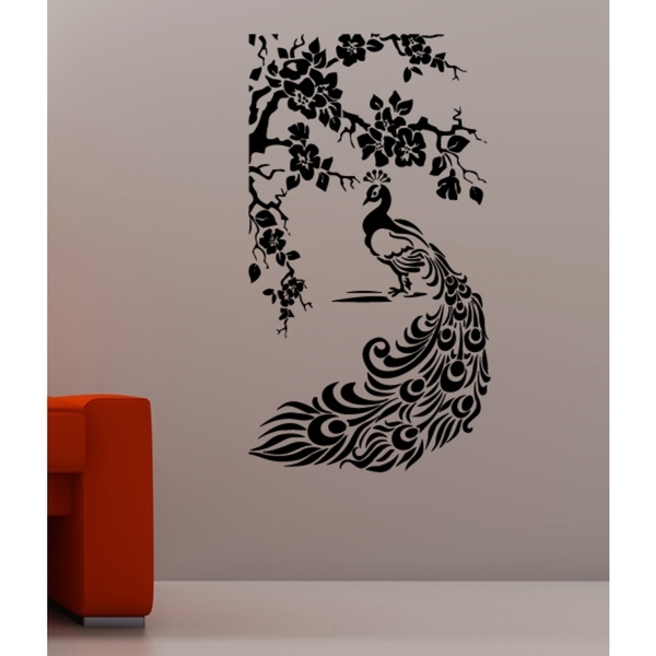 Beautiful Peacock On Nature Wall Art Sticker Decal – Ships To Canada For Nature Wall Art (Image 4 of 25)
