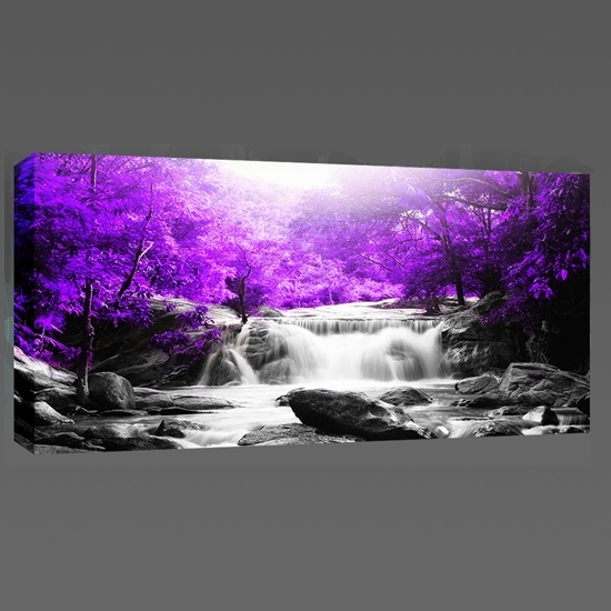Beautiful Purple Trees Waterfall Landscape Canvas Wall Art Print Within Purple And Grey Wall Art (View 21 of 25)