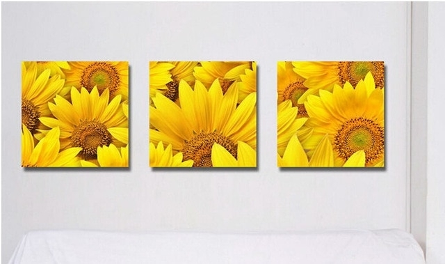 Beauty Painting Pictures Decor Living Room Decoration Sunflower Wall Within Sunflower Wall Art (Image 3 of 25)
