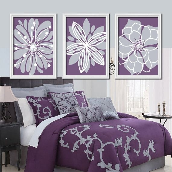 Bedding For Purple Walls Purple Decoration Ideas Purple Wall Lights With Purple And Grey Wall Art (Image 5 of 25)