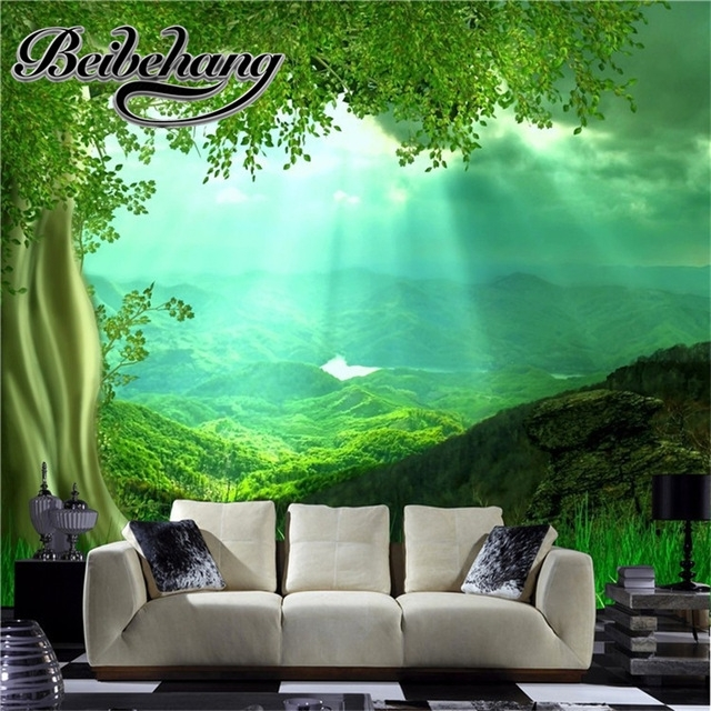 Beibehang High Fashion 3D Natural Wall Art Set Living Room Throughout Nature Wall Art (Image 6 of 25)
