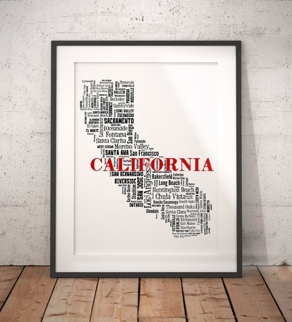 Best Film Posters : California Typography Map Art Poster Print Throughout California Wall Art (View 17 of 20)