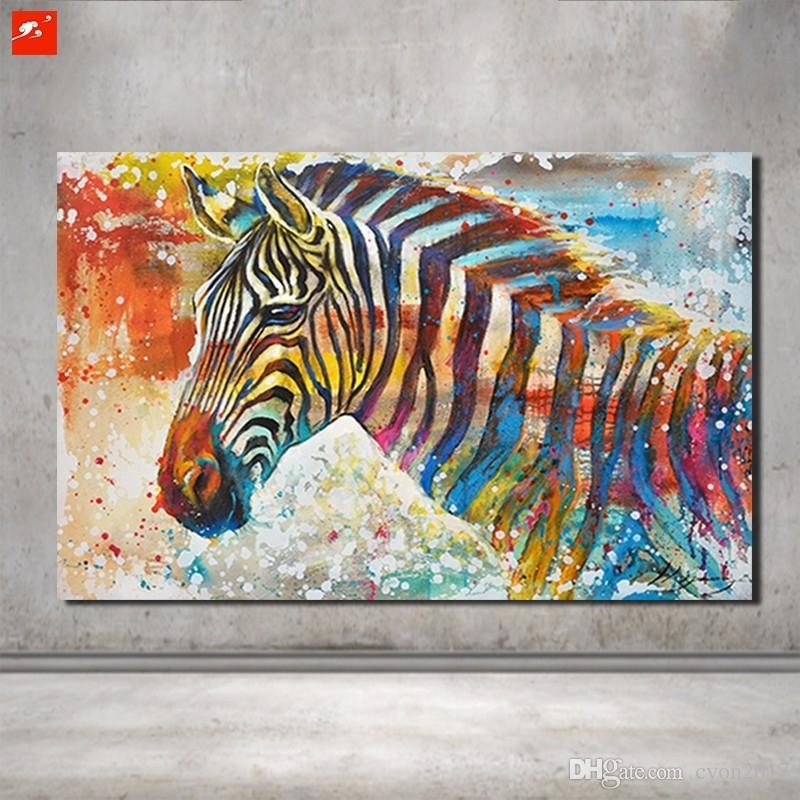 Best Wildlife Wall Art Hand Painted Zebra Canvas Oil Painting On Throughout Zebra Canvas Wall Art (View 8 of 25)