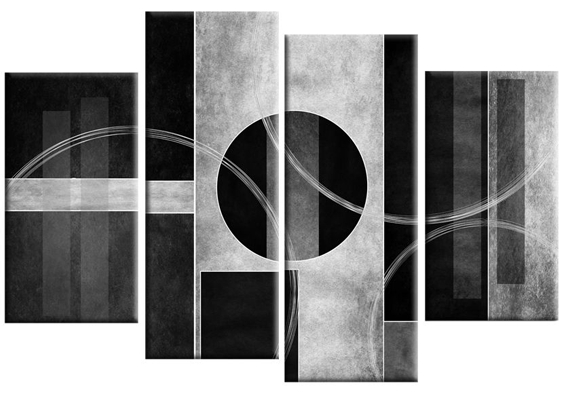 Bianco Nero Abstract Canvas Wall Art Print 4 Panel Black White Grey Throughout Gray Canvas Wall Art (View 13 of 25)