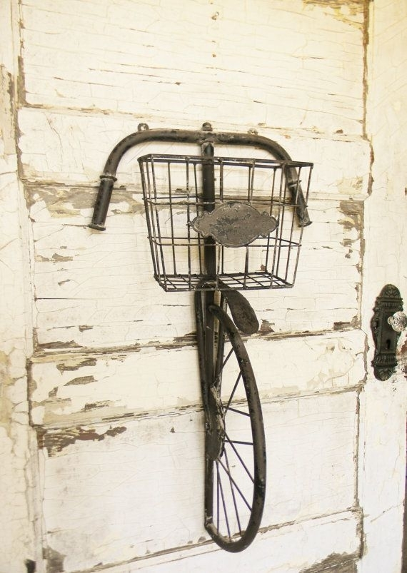Bicycle Art,bicycle Wall Decor,bicycle Wall Art,bicycle Wall Basket Intended For Bicycle Wall Art (Image 2 of 20)