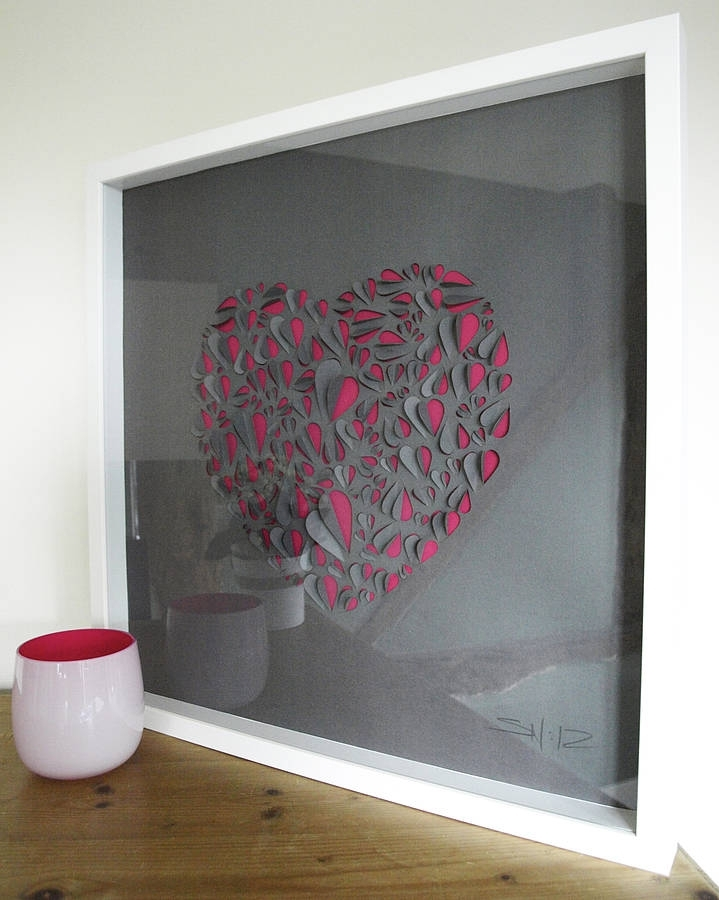 Big Love Heart Hand Crafted Wall Artillustries With Regard To Pink Wall Art (Image 5 of 25)