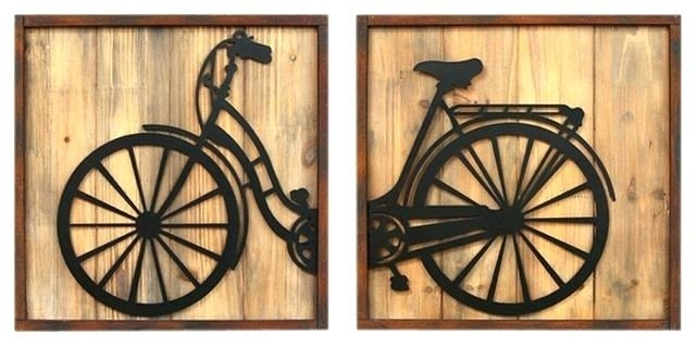 Bike Wall Decor Bike Wall Art Home Decor Set Of 2 Retro Bicycle Inside Bicycle Wall Art (Image 12 of 20)