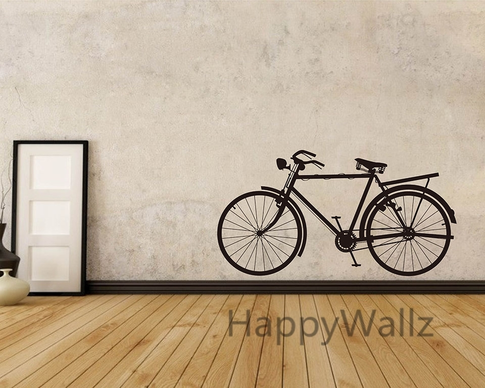 Bike Wall Sticker Modern Bicycle Wall Decal Diy Decorating Modern With Bicycle Wall Art (Image 13 of 20)