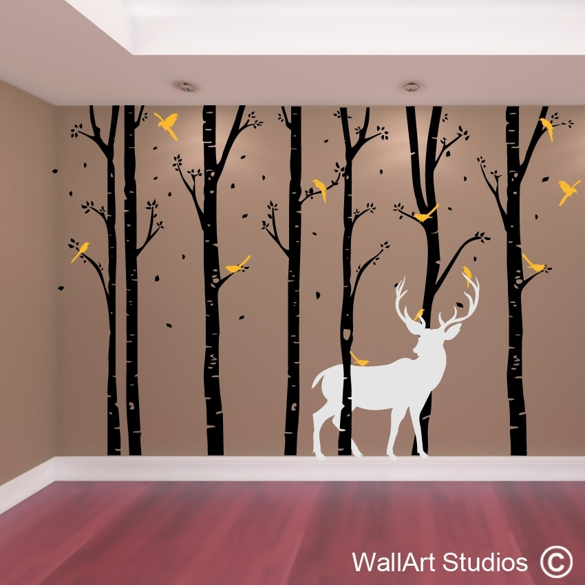 Birch Forest Stag Wall Art Vinyl | Designedwall Art Studios Pertaining To Tree Wall Art (Image 2 of 10)