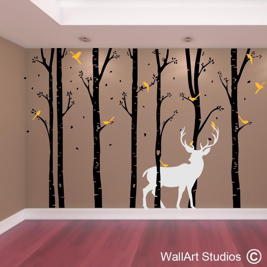 Birch Forest Stag Wall Art Vinyl   Designedwall Art Studios Throughout Wall Tree Art (Image 3 of 20)