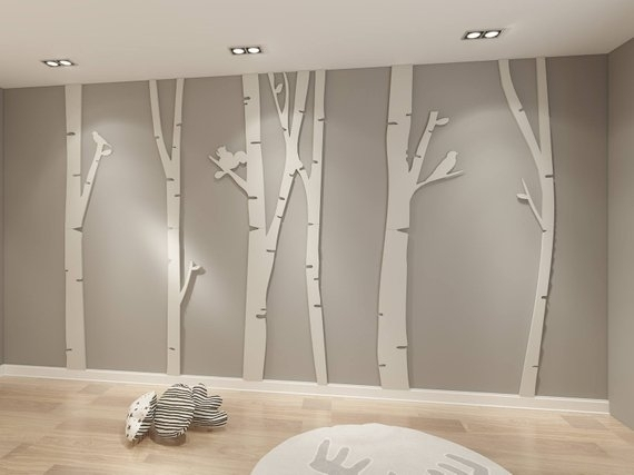 Birch Tree 3D Birch Tree Art Birch Tree Wall Art Birch | Etsy Inside Birch Tree Wall Art (View 20 of 25)