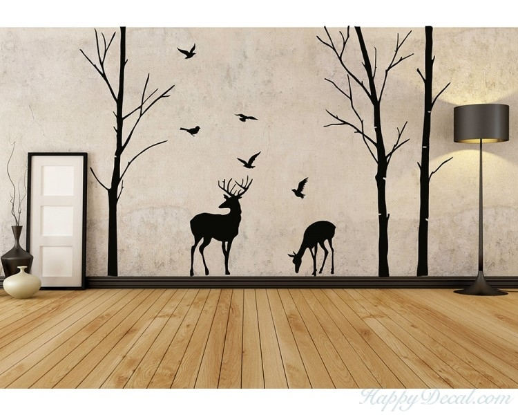 Birch Tree And Deer Wall Decals – Tree Nursery Wall Art – Woodland Within Birch Tree Wall Art (Image 5 of 25)