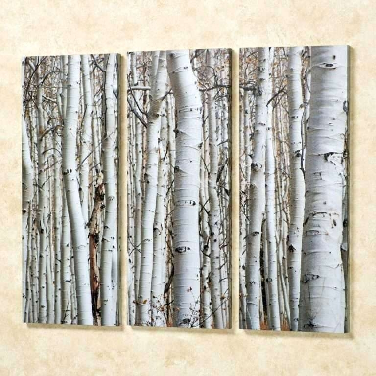 Birch Tree Wall Art Canvas 3 Panels Decor Metal – Voxtv Throughout Birch Tree Wall Art (Image 6 of 25)