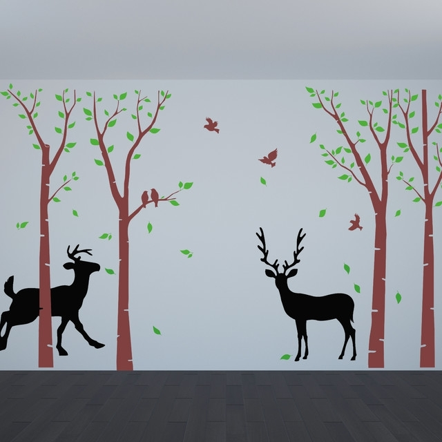 Birch Tree Wall Decals Flying Birds Deer Wall Art Nature Wall Decal With Regard To Nature Wall Art (Image 7 of 25)