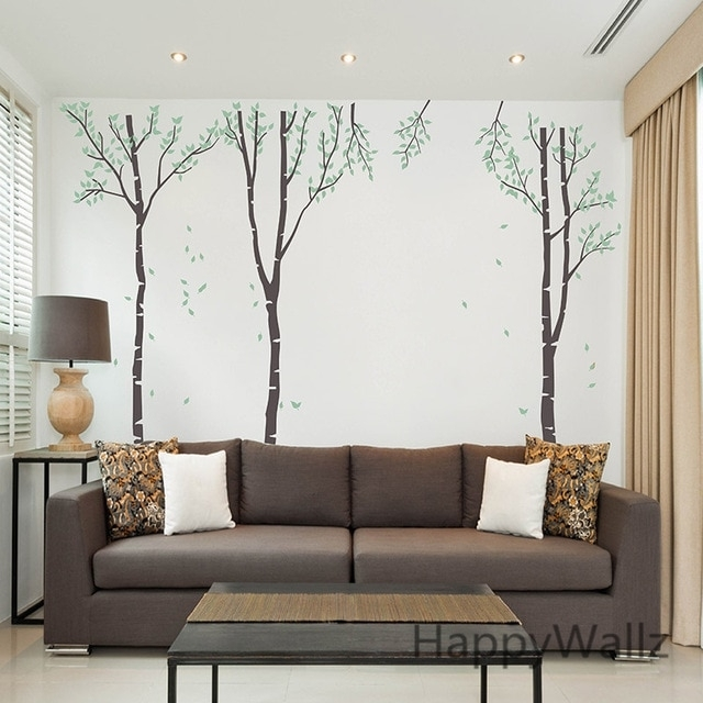 Birch Tree Wall Sticker Family Tree Wall Decal Diy Large Tree Regarding Birch Tree Wall Art (View 11 of 25)