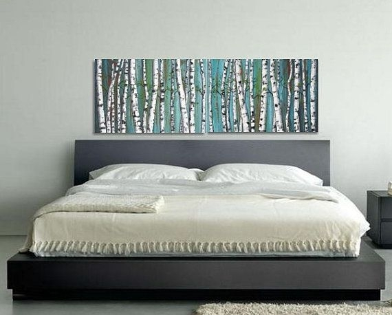 Birch Trees, Birch Tree Painting, Diptych, Panoramic Painting With Regard To Horizontal Wall Art (Image 2 of 25)