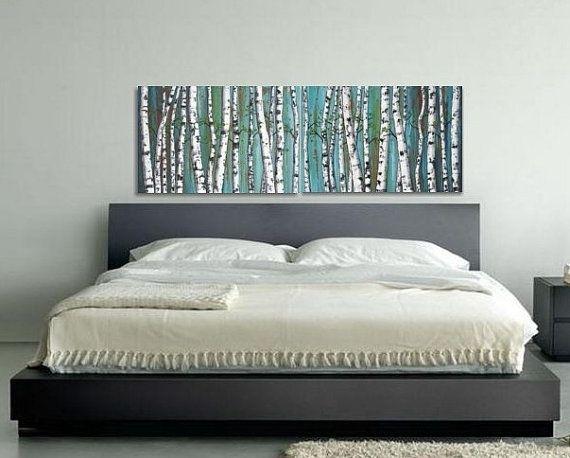 Birch Trees, Birch Tree Painting, Diptych, Panoramic Painting With Regard To Horizontal Wall Art (Image 2 of 25)