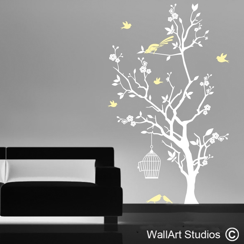 Bird Cage And Blossom Tree | Vinyl Wall Decals | Wall Art Studios In Tree Wall Art (Image 3 of 10)