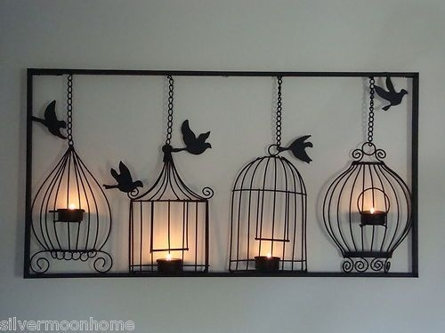 Bird Cage Wall Art, Tea Light Candle Holder, Black Metal, Unusual In Unusual Wall Art (Image 1 of 20)
