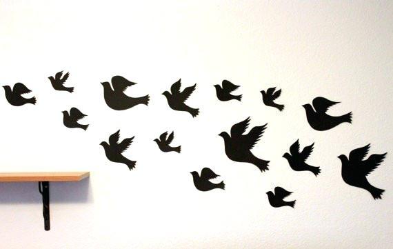 Bird Wall Decor Luxury Bird Wall Decal Black Wall Art Paper Birds Inside Bird Wall Art (Image 3 of 10)