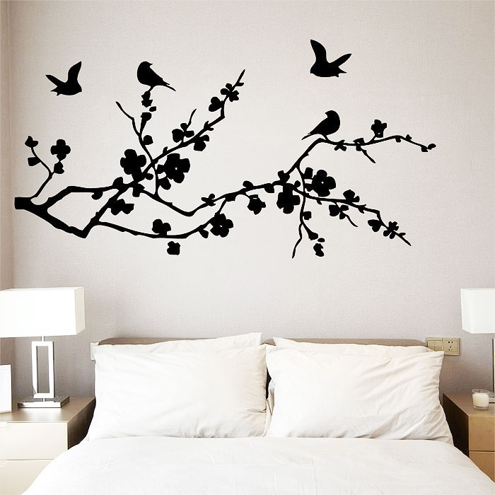 Birds Fly On Cherry Blossom Vinyl Wall Art Decal With Cherry Blossom Wall Art (View 3 of 25)