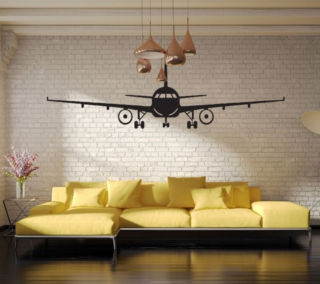 Black Airplane Wall Art Mural Decor Sticker Boys Kids Room Wallpaper For Airplane Wall Art (View 8 of 20)