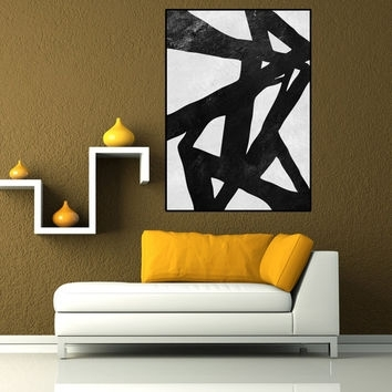 Black And White Abstract Canvas Wall Art Large Canvas Painting Wall Intended For Black And White Large Canvas Wall Art (Image 1 of 25)
