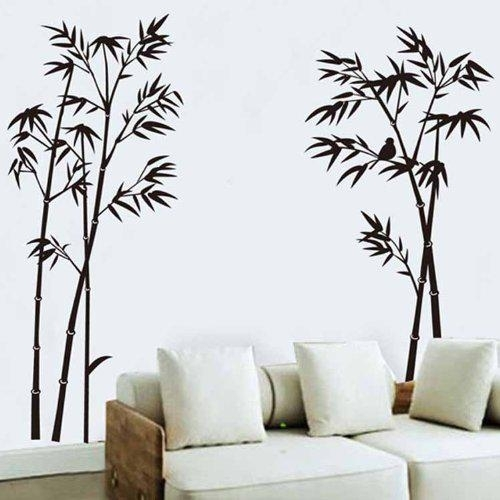 Black Bamboo Single Color Leaves Tree Branch Wall Decor Decal Regarding Bamboo Wall Art (Image 13 of 25)
