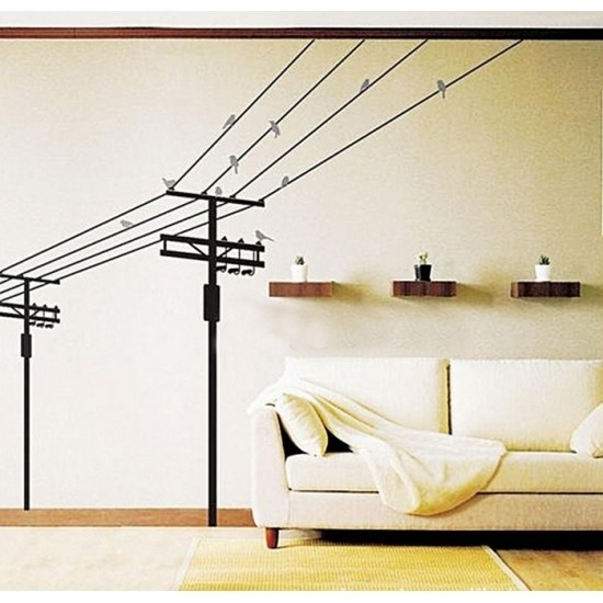 Black Electric Wire With Birds Wall Art Sticker | Vinyl Wall Decals Pertaining To Wire Wall Art (Image 5 of 25)
