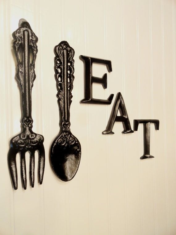 Black Kitchen Wall Decor, Large Fork Spoon Wall Decor, Eat Sign In Fork And Spoon Wall Art (View 2 of 25)