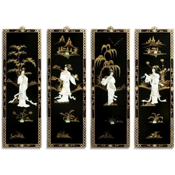 Black Lacquer Wall Plaques With Mother Pearl – Asian – Wall Within Oriental Wall Art (Image 14 of 25)