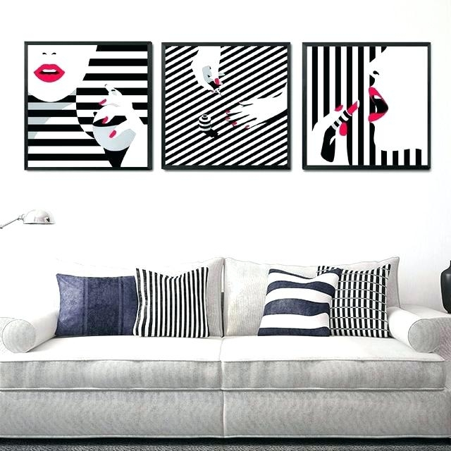 Black Wall Art White Stripe Girls Decor Painting Red Lips Beauty With Regard To Black Wall Art (Image 7 of 20)