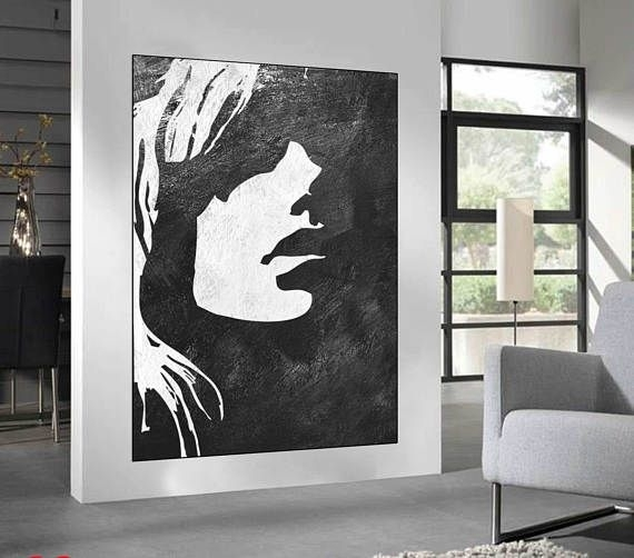 Black White Minimalist Abstract Painting Woman Face Silhouette For Black And White Large Canvas Wall Art (View 8 of 25)