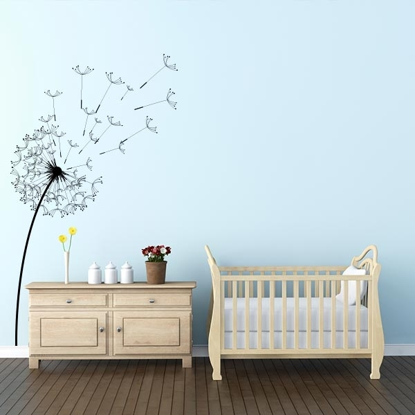 Blowing Dandelion Wall Decal | Dandelion Decal Wall Art Within Dandelion Wall Art (Image 2 of 25)