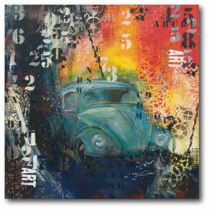 "Blue Abstract Beetle 16"" X 16"" Canvas Wall Art – Wall Art – Sale Pertaining To Car Canvas Wall Art (View 15 of 25)"