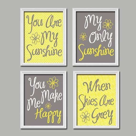 Blue And Yellow Wall Decor Best Of Yellow Gray You Are My Sunshine Inside You Are My Sunshine Wall Art (Image 2 of 10)