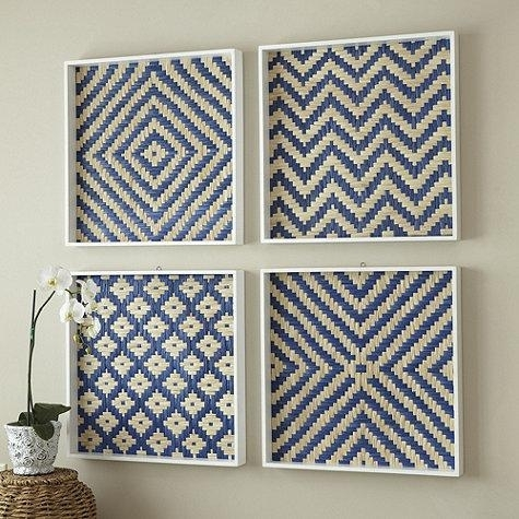 Blue Basket Weave Art Plaque Within Woven Basket Wall Art (View 13 of 25)