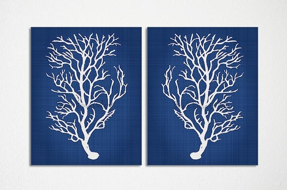 Blue Coral Wall Art, Navy Blue Coral Print, Navy White Wall Art In Coral Wall Art (Image 3 of 25)