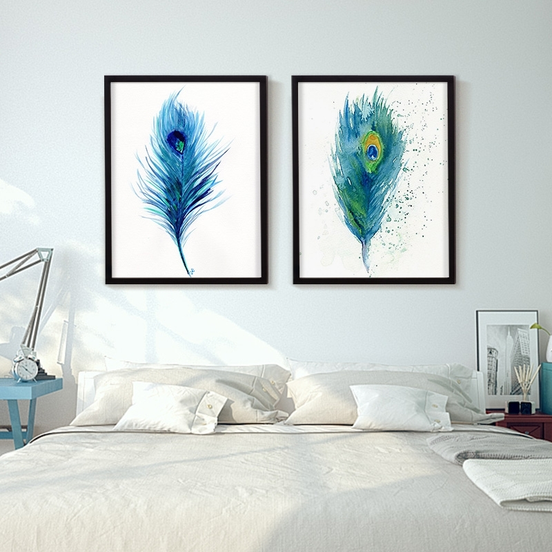 Blue Feather Wall Art : Andrews Living Arts – Look Wonderful Feather In Feather Wall Art (Image 2 of 25)