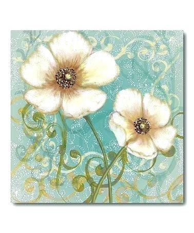 Blue Floral Wall Art 4 Piece Photo Canvas Living Room Canvas Wall Regarding Floral Canvas Wall Art (View 14 of 25)