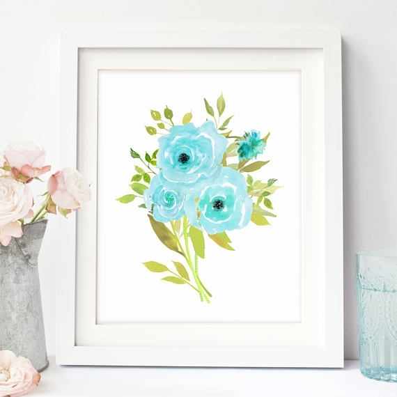 Blue Floral Wall Art, Floral Printable Art, Flower Artwork, Boho With Regard To Floral Wall Art (View 9 of 20)