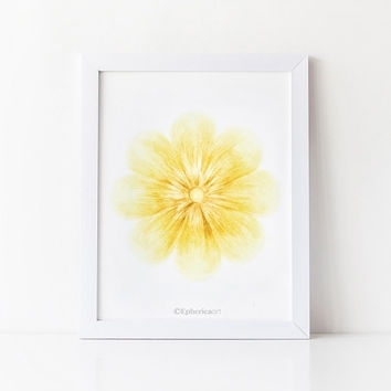 Blue Flower Wall Art, Blue Home Decor, From Epherica Art | ❀ In Yellow Wall Art (View 15 of 20)