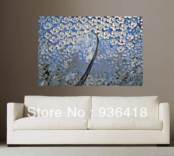 Blue Grey White Abstract Art Painting Tree Flower Large Modern For Grey And White Wall Art (Image 4 of 25)