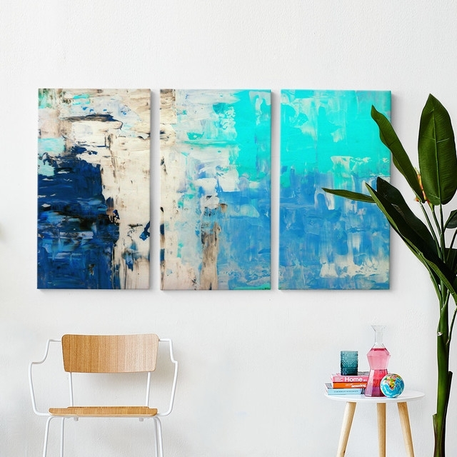 Blues Triptych Wall Art With Regard To Triptych Wall Art (Image 3 of 25)