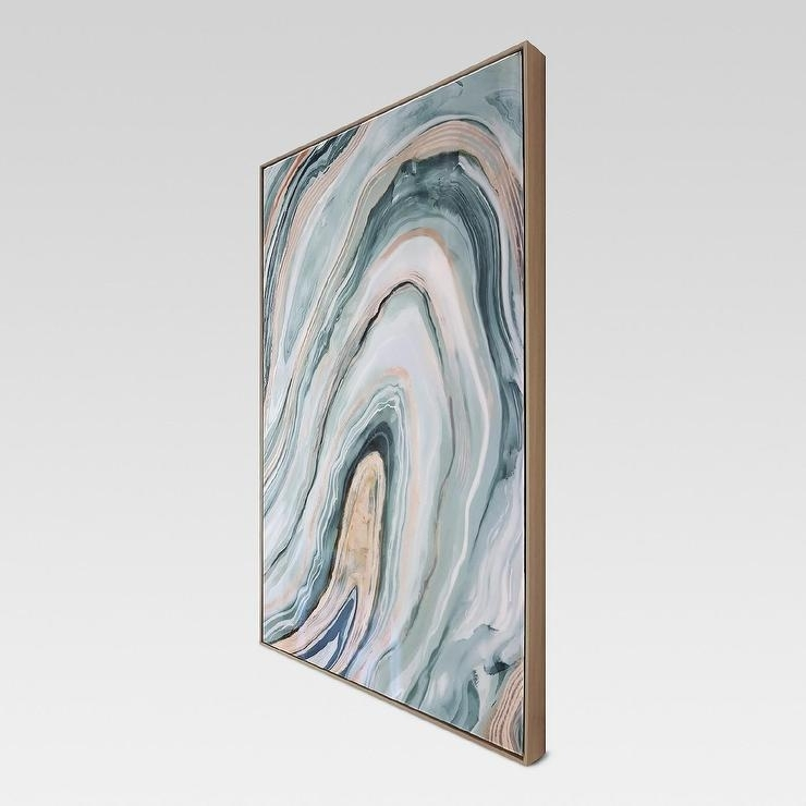 Blush Blue Agate Framed High Gloss Canvas Within Agate Wall Art (View 15 of 25)