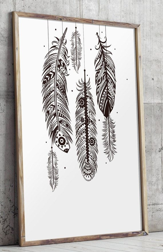 Bohemian Wall Art, Feather Wall Art, Bohemian Decor, Printable Art With Regard To Feather Wall Art (Image 3 of 25)